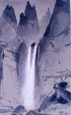Tower Falls field sketch, Yellowstone National Park, Wyoming (pinned by haw-creek.com)