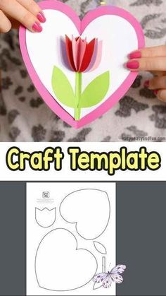 Tulip in a Heart Card - deuxieme annee #Weihnachten #Weihnachten dekoration #Weihnachten kindergarten<br> Kids Crafts, Mothers Day Crafts For Kids, Mothers Day Cards, Valentine Day Crafts, Easy Diy Crafts, Christmas Crafts, Craft Projects, Craft Ideas, Project Ideas