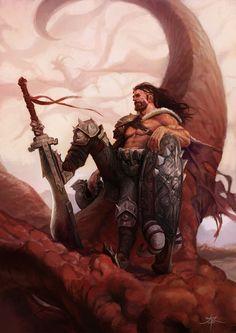 A fierce barbarian looking guy here. Big Sword.