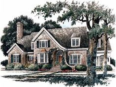 I really like the outside of this house except for the window above the front door. Eplans French Country House Plan - Cozy Kitchen Plan with Large Keeping Room - 4246 Square Feet and 4 Bedrooms(s) from Eplans - House Plan Code French Country House Plans, European House Plans, English Country Style, French Country Kitchens, French Cottage, Small House Plans, French Country Decorating, House Floor Plans, Country Houses