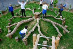 An exciting looking setup. I wonder if the tree grew in the play space before it fell/was cut down. If so, a neat process for the children to now be able to engage with it on a horizontal plane.