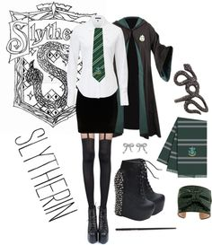 """Hogwarts Uniform- Slytherin"" by neonballrooms on Polyvore"