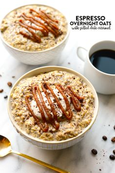 Espresso Overnight Oats with Salted Date Caramel