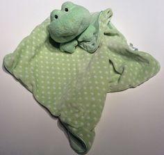 LOVEY Baby Security Blanket Gund Dottie Dots Green Polka Dot Frog Woobie Bankie #BabyGund