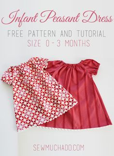 This free infant peasant dress pattern is perfect for any baby girl and is easy and quick to make! Make a handful of darling dresses in no time! - Baby Girl Dress - Ideas of Baby Girl Dress Dress Pattern Free, Peasant Dress Patterns, Bodice Pattern, Baby Girl Dress Patterns, Baby Clothes Patterns, Dress Sewing Patterns, Sewing Patterns Free, Clothing Patterns, Free Pattern