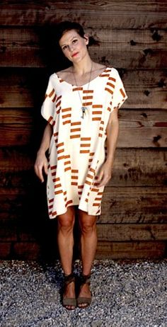 Jesse Kamm Printed Sack Dress- love the shape but would prefer another color print.