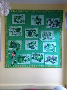 My preschool bulletin board for March/St.Patricks Day.   Green paper  Variety of different paper with green on them  Green streamers  Green tissue paper