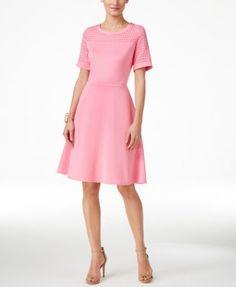 NY Collection Illusion Lattice-Pattern A-Line Dress | macys.com
