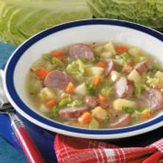 Kielbasa-Cabbage-Apple soup.  This is very very good soup...especially the next day.  I added another cup of chicken broth.