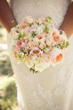 Peach, pink and ivory wedding bouquet.  Spring roses, garden roses.  Country wedding at Walnut Grove in Moorpark, Ca