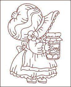 Redwork Garden Bonnets see more hatchedinafrica Vintage Embroidery, Embroidery Applique, Cross Stitch Embroidery, Machine Embroidery, Embroidery Designs, Sewing Appliques, Applique Patterns, Quilt Patterns, Sue Sunbonnet