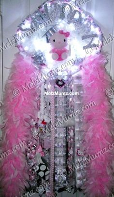 MelzMumz.com MEGA Super Single Homecoming Mum. Unique Original Custom Homecoming Mum Designs by Melz Mumz   Hello Kitty Theme with candy pink accents