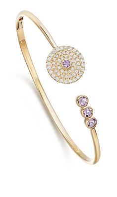 Fantasy Diamond and Lavender Amethyst Bangle in 18ct Yellow Gold