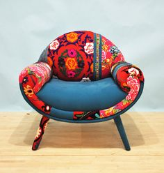 Smiley Patchwork Armchair  turquoise love by namedesignstudio