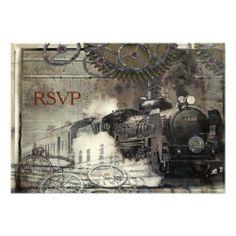 Steam Engine Steampunk RSVP Custom Announcement