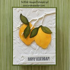 """Stampin' Blends Lemon Zest """"Soaking"""" Technique - Aromas and Art Simple Birthday Cards, Handmade Birthday Cards, Card Making Inspiration, Making Ideas, Making 10, Making Greeting Cards, Paper Pumpkin, Pretty Cards, Cool Cards"""