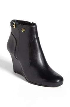 Love! Black + Gold Wedge Bootie.