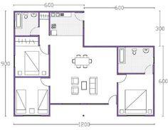 plano de casa de 90m2