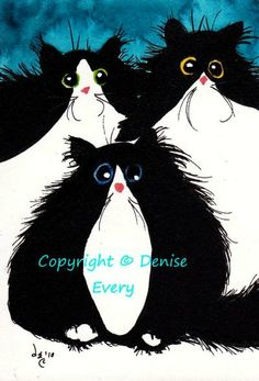 Tuxedo Maine Coon Whacky Kitties Silly Fun Cat Art by DeniseEvery, $5.99