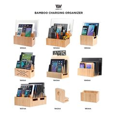 MobileVision Bamboo Universal Multi Device Cord Organizer Stand and Charging Station for Smartphones, Tablets, and Laptops: Amazon.ca: Electronics