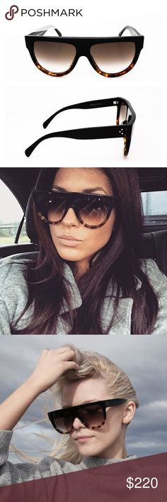 Celine Shadow Sunglasses Black Tortoise CL41026/S New Celine Shadow Sunglasses in Dark Brown and Tortoise, choice of A class celebrities, including Kim Kardashian. Made in Italy, authentic, come with original black suede pouch, cloth and white envelope. Celine Accessories Sunglasses
