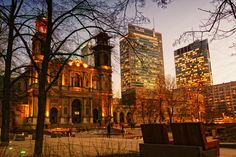 https://flic.kr/p/9pmhav | Poland Warsaw Warszawa Grzybowski Square March 2011 | Twilight over Warsaw - Poland. In  background All Saints' Church and skycrapers. In the middle WFC, from the right side Rondo 1.
