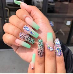 Leopard Nails, Blue Nails, Paws And Claws, Long Acrylic Nails, Nail Inspo, How To Do Nails, Iphone, Nail Designs, Swarovski