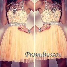 Prom dresses short, beaded tulle junior prom dress, 2016 handmade pleated party dress for teens www.promdress01.c... #coniefox #2016prom