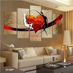 5 piece Large canvas NO frame Modern hand-draw Art Oil Painting Wall Art Decor Accent Wall Decor, Home Wall Decor, Hand Painting Art, Oil Painting Abstract, Large Canvas Wall Art, Canvas Art, Cheap Wall Decals, Music Wall, Art Oil