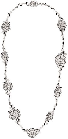 Chanel | Camélia Ganse necklace in diamonds and black spinels.