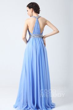 Gorgeous A-Line Halter Floor Length Chiffon Evening Dress with Draped and Crystals COSF1405C #bridesmaiddress #cocomelody