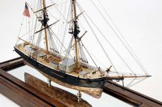 """Volante By: Michael Costagliola  An American merchant brig designed and built by Wm Webb at New York, 1853. She served the """"Triangular Trade"""" from New York/Boston to the Mediterranean and back to the West Indies and ports along the Atlantic coast until 1862.   Scale: 1/8"""" = 1' Size: 24 3/8"""" x 9/34"""" x 19 1/4"""""""