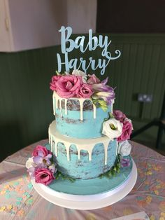 baby shower blue naked drip cake