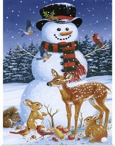 Snowman With Friends by William Vanderdasson Framed Art - Multi Christmas Snowman, Winter Christmas, Vintage Christmas, Christmas Crafts, Christmas Decorations, Christmas Ornaments, Christmas Time, Xmas Holidays, Winter Snow