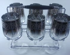 French Water Goblets & Caddy Set of Seven Ombre Arcoroc Midcentury