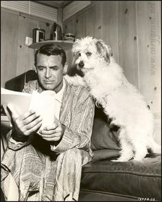 Cary Grant and his cuddly dog friend study the script