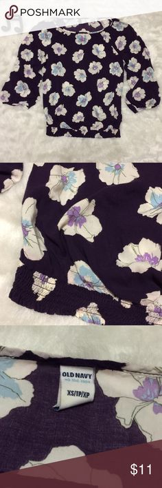 Hibiscus Floral Print Blouse Pretty purple blouse with white and light blue hibiscus print. 3/4 length sleeves. Banded elastic waist. No flaws. See measurements in photos for sizing questions.  🔽🔽🔽🔽🔽🔽🔽🔽🔽🔽🔽🔽🔽🔽🔽🔽🔽🔽🔽🔽  • Reasonable offers accepted • Sorry, no modeling & no trades  🔼🔼🔼🔼🔼🔼🔼🔼🔼🔼🔼🔼🔼🔼🔼🔼🔼🔼🔼🔼 Old Navy Tops Blouses