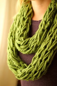 Chunky Knit Infinity Scarf in Grass Green by BeautyUnveiled, $24.00