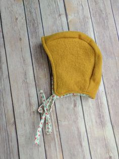 XS Upcycled baby bonnet - retro - merino wool cotton hat - spring hat - felted wool - wool bonnet - fall hat -natural materials - Waldorf