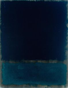 "Mark Rothko has been a favorite ever since I saw two of his paintings in a Newsweek article. I love their fog-like mystery based entirely on color. Here is ""Untitled - Navy and Black, 1969."""