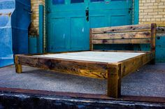 Reclaimed Wood Modern Platform Bed - Scandinavian Inspired - Handcrafted in USA - QUEEN BED - Made of 19th Century Grain Elevator White Pine...