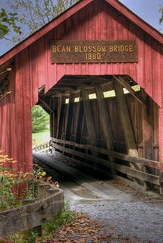 Indiana is well-known for its covered bridges which are scattered throughout the state. This is Bean Blossom Covered Bridge, between Bean Blossom and Nashville, Indiana.  One of my favorite covered bridges in Indiana!