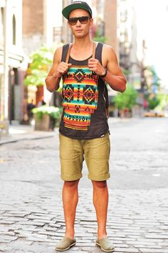 Shorts styled with Printed Tank Top and a pair of Espradrilles much gives a summer and a beach look