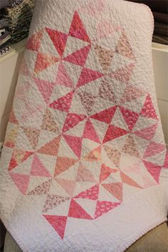 Baby Quilt Kit Hour Glass  Pink and White by PebbleCreekArts