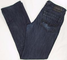 Buffalo Klive Jeans Relaxed Straight Leg Dark Wash Slight Distressed sz 32 X 34 #BuffaloDavidBitton #RelaxedStraightLeg