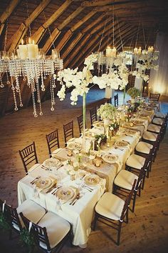 Elegant wedding decorations that you can use for a rustic glam wedding celebration. We love those hanging wedding chandeliers! Perfect for elegant weddings