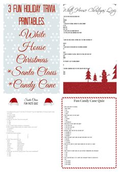 Christmas Trivia Printables. Fun trivia on the White House Christmas, Candy Canes, and Santa Claus.