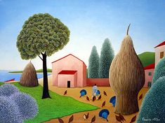 The Fields by the Sea by Cesare Novi - GINA Gallery of International Naive Art