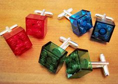 Inexpensive and easy-to-make holiday gifts - like these lego cufflinks!
