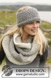 """Wrap-me-up - Knitted DROPS neck warmer and head band in """"Eskimo"""". - Free pattern by DROPS Design Knit Headband Pattern, Knitted Headband, Knitted Gloves, Fingerless Mittens, Drops Design, Crochet Scarves, Knit Crochet, Crochet Hats, Knitting Patterns Free"""